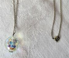 "Faceted Crystal Glass Ball Pendant Necklace with 24"" Gold Tone Chain"