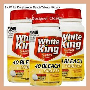 3 x White King Bleach Tablets Lemon 40pk - Bathroom, Kitchen, Soaking, Toilet