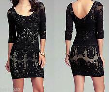 NWT bebe lace Dress biege black nude floral double v neck top bodycon XXS XS S