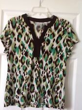 chicos tops size 2, Multi Color, poly-spandex, Green, Brown