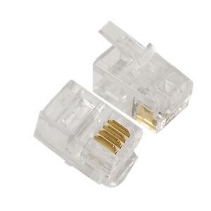 4P4C RJ10 Crimp Plug Connector Pack of 10 Small Telephone 4 pin RJ9 RJ10 RJ22