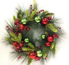"Decorated Pine Wreath~Red/Green Ornaments~Pinecones~Red Berries~24""~Artificial"
