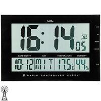 AMS Tischuhr 5895 Wanduhr Funk Anzeige Zeit Datum Temperatur Weckfunktion