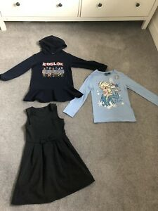 Roblox Sweat Jumper Dress, Elsa Frozen Top And School Uniform Pinafore Size 7-8