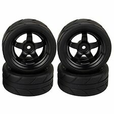 RC 1/10 On Road Car Black  5 Spoke Wheels and Tires  Pack of 4
