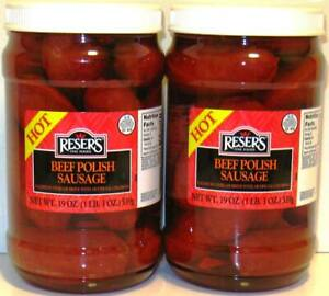Beef Hot Pickled Polish Sausage by Reser's 2 Pack of 1 Quart Jars