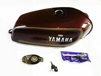 Petrol Fuel Gas Tank Steel Maroon With Chrome LID Cap For YAMAHA RX100 RX125