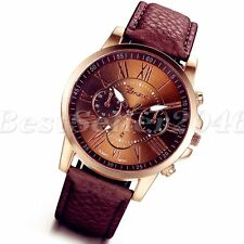 Womens Fashion Brown Leather Band Stainless Steel Analog Quartz Wrist Watch Gift