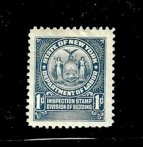 HICK GIRL-USED U.S. STATE REVENUE   1 CENT  NEW YORK  BEDDING TAX     D1146