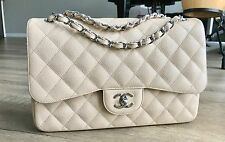 Chanel 2.55 Classic Jumbo Double Flap Bag Caviar Leather Light Beige Silver HW