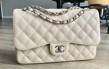 Chanel 2.55 Classic Jumbo Double Flap Bag Caviar Leather Light Beige Silver HW