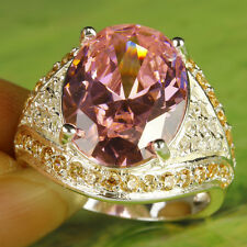 Women's Gift Oval Cut Pink & White Topaz Gemstone AAA Silver Fashion Ring Size 8