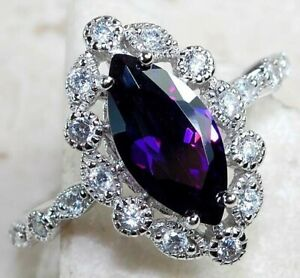 3CT Amethyst & White Topaz 925 Solid Sterling Silver Ring Jewelry Sz 6, M1