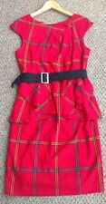 RAINBOW Red Tartan Dress Size 14 Euro 40 Peplum & Belt Scottish Shift Sleeveless
