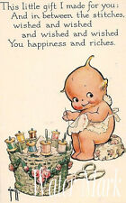 KEWPIE SEWING*ADORABLE*QUILT ART FABRIC BLOCK*SEWING*FRAME*ONE  5X7 *