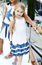 NWT Lemon Loves Lime Row Row In Pink Striped Nautical Knit Ruffle Dress 10 Yrs