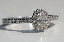 Classic Halo Diamond Engagement Ring Oval Brilliant GIA Certified D-SI1 14K Gold