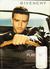 2012 GIVENCHY`Justin Timberlake`Ad Page` Play Sport (NOT PRODUCT)