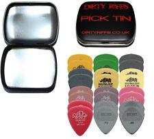 24 Dunlop Guitar Picks Medium Variety - Tortex, Nylon, Ultex In A Handy Pick Tin