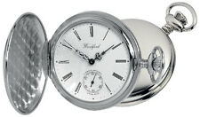 Pocket Watch  Chrome Plated Full Hunter second hand dial - chain Woodford 1061