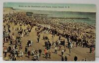 Coney Island NY Scene on the Boardwalk and Beach  Postcard C4
