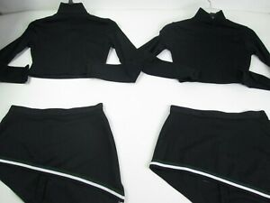 "2 Matching SEXY TWIN Cheerleader Uniform Adult M 34 Crop Tops 28"" Skirts Black"
