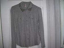 Xhilaration Gray Studded Collar Button Down Shirt Size XL