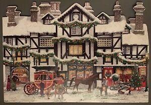 Victorian Christmas Street Snowy Scene Charity card - SINGLE CARD - The Works