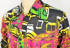 Mens Vtg 70s Style Funky Psychedelic Crazy Print Fresh Prince Festival Shirt XL