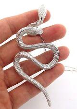 Fine Diamond Snake Cluster Pendant Necklace 18K White Gold 9.76CT