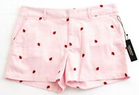 Jones New York Pink Embroidered Ladybugs Cotton Stretch Shorts Women's NWT