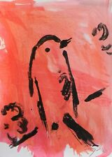 JOSE TRUJILLO - Monotype Print ORIGINAL Abstract Bird Red EXPRESSIONISM 1 OF 1