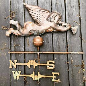 Vintage Copper Angel / Cherub blowing Trumpet Weathervane Celestial Rare COPPER
