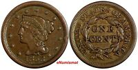 US Copper 1853 Braided Hair Large Cent 1 c.