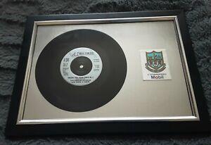 Tottenham Memorabilia -1991 Record + Mobil Badge Framed  WHEN THE YEAR ENDS IN 1