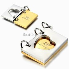 Silver Gold Tone Book Shape I love you Note Stainless Steel Pendant Necklace