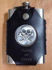 8oz Flask Laser Engraved - Skull And Crossbones & Faux Leather Belt Loop Wrap