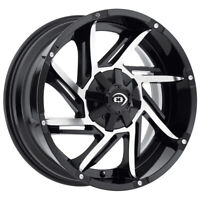 "4-Vision 422 Prowler 18x9 8x6.5"" +12mm Black/Machined Wheels Rims 18"" Inch"