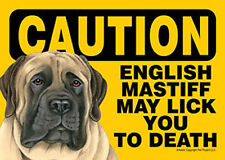 English Mastiff Caution May Lick You To Death Dog Sign Magnet Hook & Loop Fas...