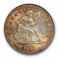 1876 S 25c Seated Liberty Quarter NGC MS 64 Uncirculated Beautifully Toned