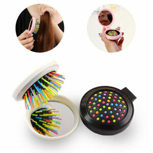 Travel Portable Folding Hair Brush With Mirror Mini Pocket Size Combs Massager