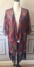 Lularoe Monroe Kimono Large Cover Up Fringe Black Red Color Block
