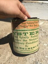CHAS. NEUBERT & CO. 1 Gallon Oyster Tin Can Baltimore, MD Mermaid Image MD. 39