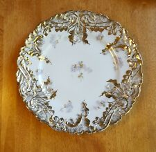 BEAUTIFUL ANTIQUE WALL PLATE/ LS&S, CARLSBAD AUSTRIA WHITE EMBOSSED GILT FLORAL
