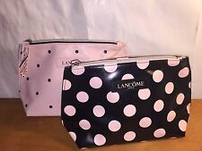 Lancome Black w/ Pink dot&  pink with black dot Cosmetic Bag 2016 NEW
