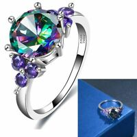 verlobung bunte steine crystal hochzeit schmuck ringe versilbert aaa, zirkon,