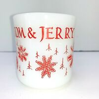 Vintage FIRE KING Cup TOM AND JERRY SNOWFLAKE HANDLE PUNCH MUG CHRISTMAS