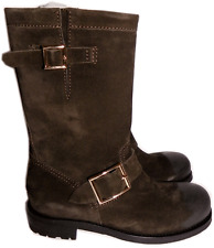Jimmy Choo Suede Biker Youth Short Flat Motorcycle Boot Ankle Bootie 35- 5