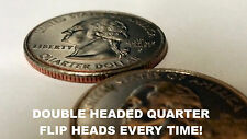 Double Two 2 Sided Headed Quarter Coin Magic Trick Head Winner Every Flip NEW
