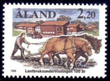 Aland 1988 Animals, Horse Ploughing, Agricultural Education, MNH / UNM